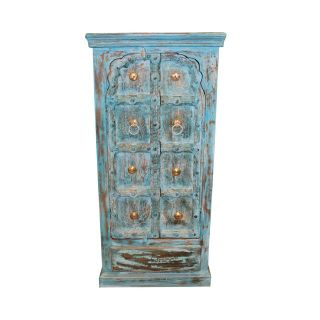 Antique Indian Small Hand Carved Blue Chest Armoire