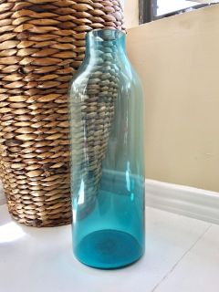 Tall Turquoise Teal Flower Vase