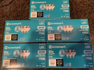 5 boxes of 3, LED bulbs G16.5 globe w/ candelabra base