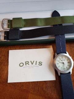 Orvis watch with case and 2 new bands