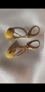 yellow amber gold plated earrings