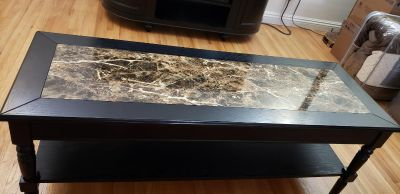 Faux Marble Black Coffee Table