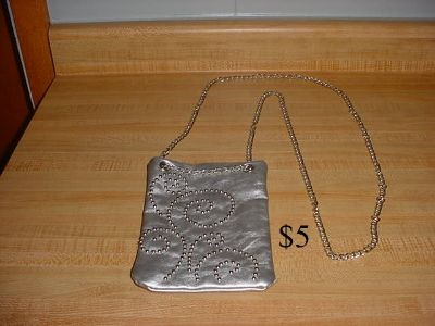 Elegant Silver Beaded Clutch Evening Bag/Purse With A Long 26 Chain Crossbody Shoulder Strap. This Bag has A Snap Closure & Interior is...