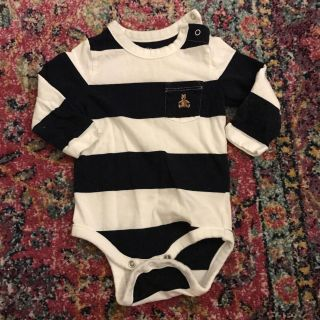 3-6 months Gap long sleeve navy and white striped onesie