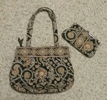Used Vera Bradley Caffe Latte Purse and Wallet Set