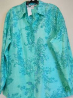 Silk Floral Seafoam Green Blouse