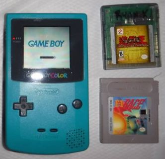 Nintendo Game Boy Color Teal Blue Handheld System + 2 Games