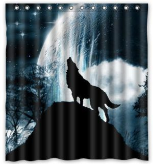 "Custom Polyester Fabric Waterproof Bathroom Shower Curtain 66"" x 72"" Wolf Howl"