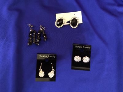 Four (4) Pair Pierced Earrings - Two Post, Two Dangly New Condition