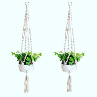 Macrame plant hanger, set of 2. 40 inches long.