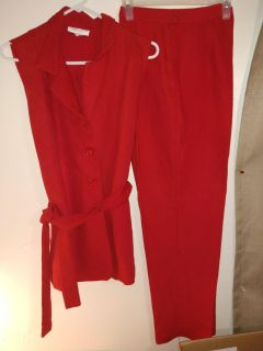 Red outfit pants & sleeveless top w/ belt strap