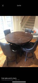 Pub table and 4 chairs