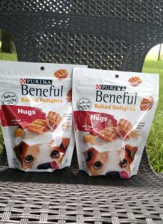 Lot of (2) New: Purina Beneful Dog Treats, Baked Delights Hugs With Real Beef & Cheese - 8.5 oz. Pouches -> $3.
