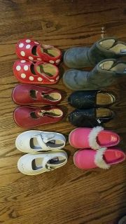 6 pairs of girls shoes. Size 7-8.