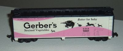 Tyco HO Scale Gerbers Strained Vegetable 40' Billboard Reefer Box Car GSVX 1001