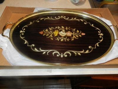 Vintage Inlay wood serving tray
