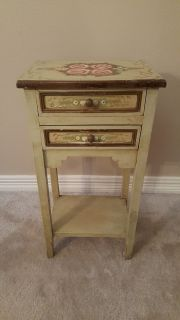 Vintage All Hand Painted Cottage Narrow Bedside Table.