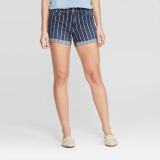 Women s high rise striped midi jean shorts by Universal Threads