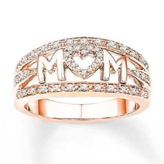 """A Breathtaking Heart """"MOM"""" Rose Gold Filled CZ Ring"""