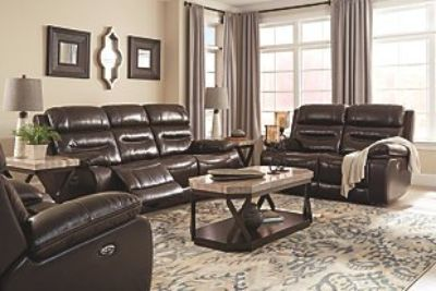 Electric Reclining Leather Sofa and Loveseat Set