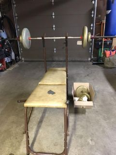 Old Weight Bench & Weights