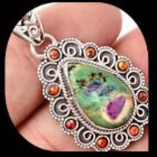 NEW - Ruby in Fuchsite and Orange Fire Opal 925 Sterling Silver Pendant (Includes a chain)