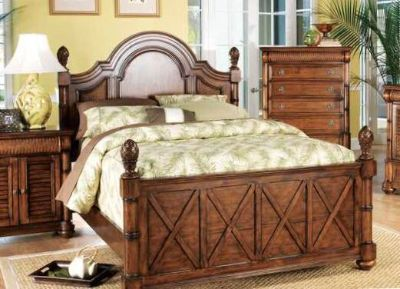 Queen Panel Bed and Dresser with Mirror