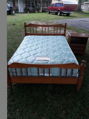 Solid wood full size bed with mattress set clean
