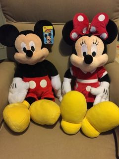 LARGE Minnie & Mickey Mouse Plush Toys