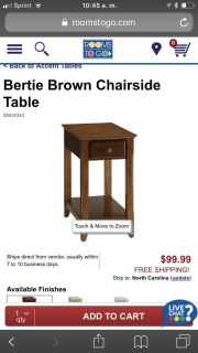 Brown Chairside Table