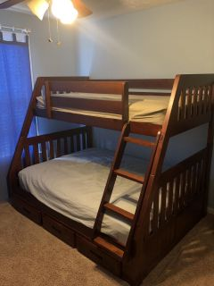 Twin over full bunk bed and 5 drawer chest ( includes twin mattress)