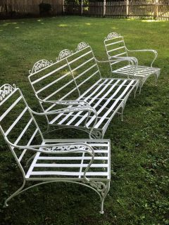 Heavy wrought Iron set. Couch 74 L x 33 H x 23 D. Two chairs 29 1/2 L x 34 H x 23 D