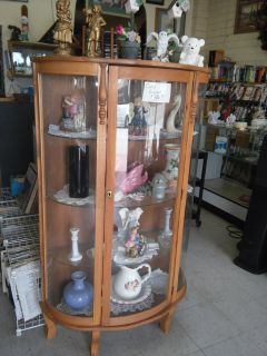 All wood curio cabinet rounded glass