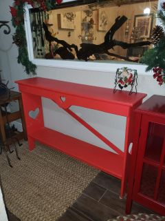 Long red table