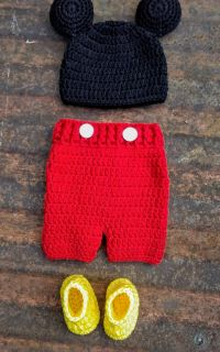 Handmade inspired by Mickey mouse baby outfit.