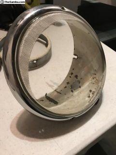 Original German Hella headlight bucket with glass