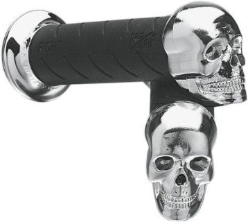 "Sell Pro Grip Skull Cruiser Grips 1"" Black/Chrome (862CRSK-1) motorcycle in Holland, Michigan, United States, for US $18.68"
