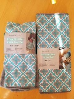 NEW-kitchen towel set and drying mat