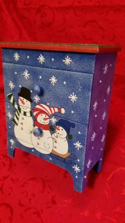 Excellent Condition detailed Snowman family Winter Wonderland theme wooden cabinet. Lovely blue decoupage background .