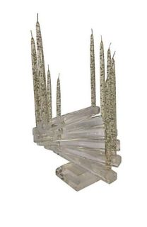 Vintage 1970 s Substantial Lucite Spiral Staircase 12-Light Candelabra