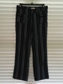 Black and gray striped dress pants, size Small, excellent condition