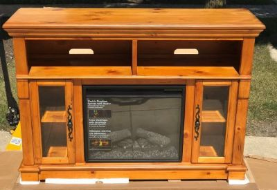 "Twin Star 54"" Media Console Electric Fireplace Glazed Pine - New!"