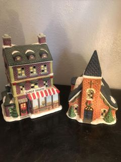 Ceramic Christmas candy shoppe and church (**see description info on church)