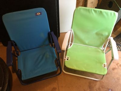 Beach chairs! Both folds completely flat & both have Velcro pocket on back. $15 for both or $8 each!