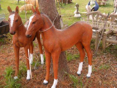 Fiberglass Life Size Bay Horse/ Foal