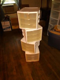 Small, stackable plastic drawer units