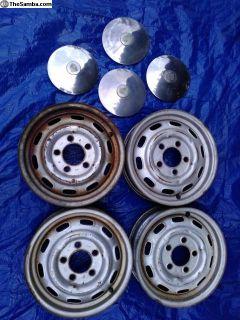 60's Porsche steel wheels, & hubcaps 5x130