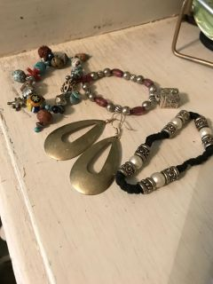 Bracelets and one pair of dangle earrings