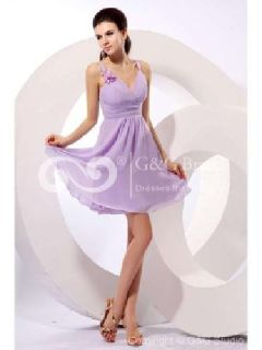 Massoo Lavender Chiffon A-line Junior Bridesmaid Gown Short with Ruching MS63GV9
