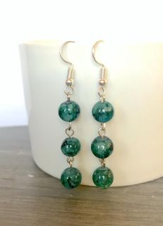 Stacked Marble Earrings - Green
